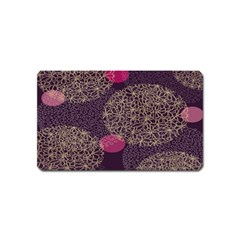 Twig Surface Design Purple Pink Gold Circle Magnet (Name Card)
