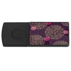 Twig Surface Design Purple Pink Gold Circle USB Flash Drive Rectangular (4 GB)