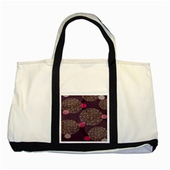 Twig Surface Design Purple Pink Gold Circle Two Tone Tote Bag