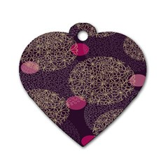 Twig Surface Design Purple Pink Gold Circle Dog Tag Heart (two Sides)