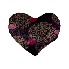 Twig Surface Design Purple Pink Gold Circle Standard 16  Premium Heart Shape Cushions