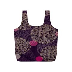 Twig Surface Design Purple Pink Gold Circle Full Print Recycle Bags (S)