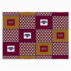 African Fabric Diamon Chevron Yellow Pink Purple Plaid Large Glasses Cloth (2-Side)