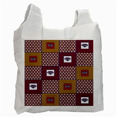 African Fabric Diamon Chevron Yellow Pink Purple Plaid Recycle Bag (Two Side)