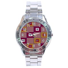 African Fabric Diamon Chevron Yellow Pink Purple Plaid Stainless Steel Analogue Watch