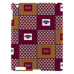 African Fabric Diamon Chevron Yellow Pink Purple Plaid Apple iPad 3/4 Hardshell Case