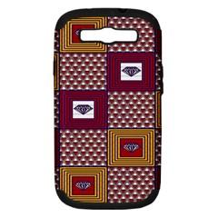 African Fabric Diamon Chevron Yellow Pink Purple Plaid Samsung Galaxy S Iii Hardshell Case (pc+silicone)
