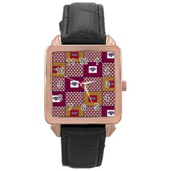 African Fabric Diamon Chevron Yellow Pink Purple Plaid Rose Gold Leather Watch