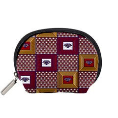 African Fabric Diamon Chevron Yellow Pink Purple Plaid Accessory Pouches (Small)