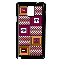 African Fabric Diamon Chevron Yellow Pink Purple Plaid Samsung Galaxy Note 4 Case (black)