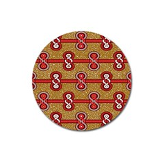 African Fabric Iron Chains Red Purple Pink Magnet 3  (round)