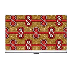 African Fabric Iron Chains Red Purple Pink Business Card Holders