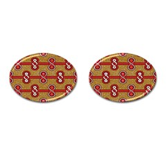 African Fabric Iron Chains Red Purple Pink Cufflinks (oval)