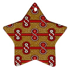 African Fabric Iron Chains Red Purple Pink Star Ornament (Two Sides)