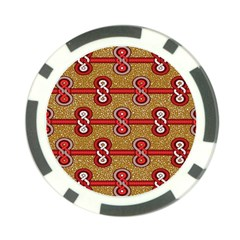 African Fabric Iron Chains Red Purple Pink Poker Chip Card Guard