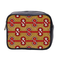 African Fabric Iron Chains Red Purple Pink Mini Toiletries Bag 2-Side