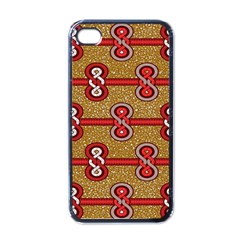 African Fabric Iron Chains Red Purple Pink Apple iPhone 4 Case (Black)