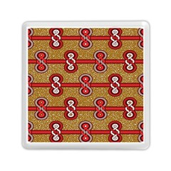 African Fabric Iron Chains Red Purple Pink Memory Card Reader (Square)