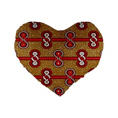 African Fabric Iron Chains Red Purple Pink Standard 16  Premium Heart Shape Cushions