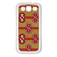 African Fabric Iron Chains Red Purple Pink Samsung Galaxy S3 Back Case (White)