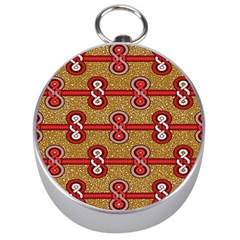 African Fabric Iron Chains Red Purple Pink Silver Compasses