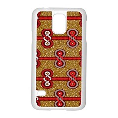 African Fabric Iron Chains Red Purple Pink Samsung Galaxy S5 Case (White)