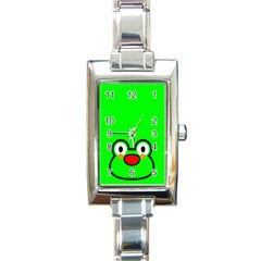 Animals Frog Face Green Rectangle Italian Charm Watch