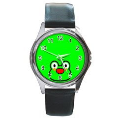 Animals Frog Face Green Round Metal Watch