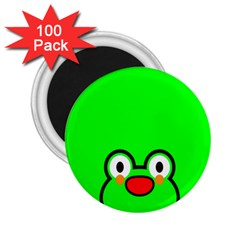 Animals Frog Face Green 2 25  Magnets (100 Pack)