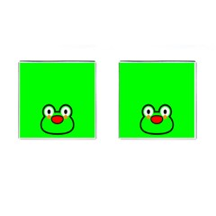 Animals Frog Face Green Cufflinks (Square)