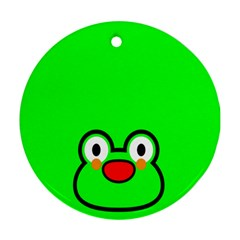 Animals Frog Face Green Round Ornament (Two Sides)