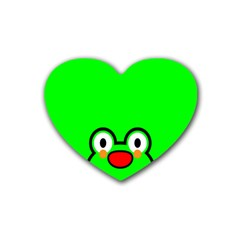Animals Frog Face Green Heart Coaster (4 pack)