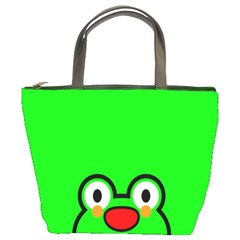Animals Frog Face Green Bucket Bags