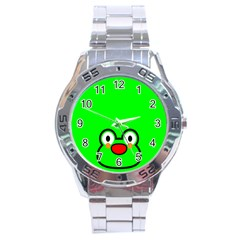 Animals Frog Face Green Stainless Steel Analogue Watch