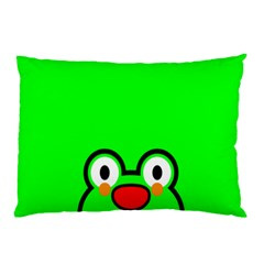 Animals Frog Face Green Pillow Case (two Sides)