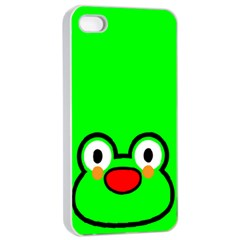 Animals Frog Face Green Apple iPhone 4/4s Seamless Case (White)