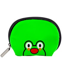 Animals Frog Face Green Accessory Pouches (Small)