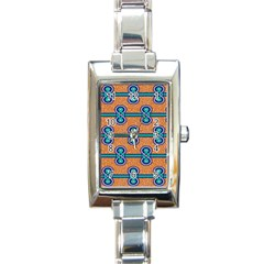 African Fabric Iron Chains Blue Orange Rectangle Italian Charm Watch