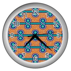 African Fabric Iron Chains Blue Orange Wall Clocks (silver)