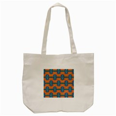 African Fabric Iron Chains Blue Orange Tote Bag (cream)