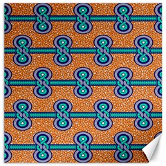 African Fabric Iron Chains Blue Orange Canvas 16  x 16