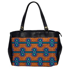 African Fabric Iron Chains Blue Orange Office Handbags