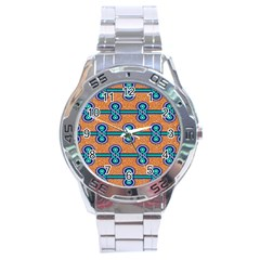African Fabric Iron Chains Blue Orange Stainless Steel Analogue Watch