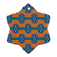 African Fabric Iron Chains Blue Orange Ornament (Snowflake)