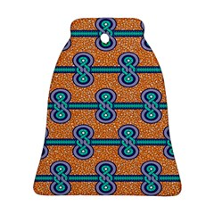 African Fabric Iron Chains Blue Orange Bell Ornament (Two Sides)