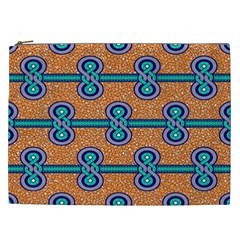 African Fabric Iron Chains Blue Orange Cosmetic Bag (XXL)