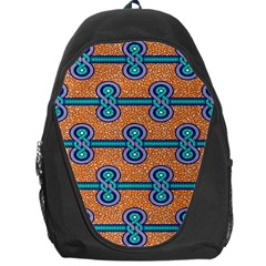 African Fabric Iron Chains Blue Orange Backpack Bag