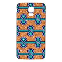 African Fabric Iron Chains Blue Orange Samsung Galaxy S5 Back Case (white)