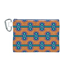 African Fabric Iron Chains Blue Orange Canvas Cosmetic Bag (M)