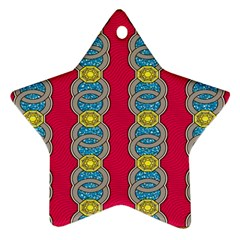 African Fabric Iron Chains Red Yellow Blue Grey Ornament (star)